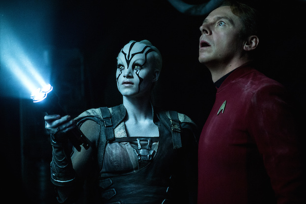 Left to right: Sofia Boutella plays Jaylah and Simon Pegg plays Scotty in Star Trek Beyond from Paramount Pictures, Skydance, Bad Robot, Sneaky Shark and Perfect Storm Entertainment